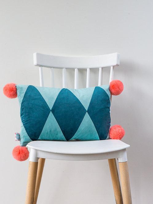 Harlequin PomPom Cushion- teal