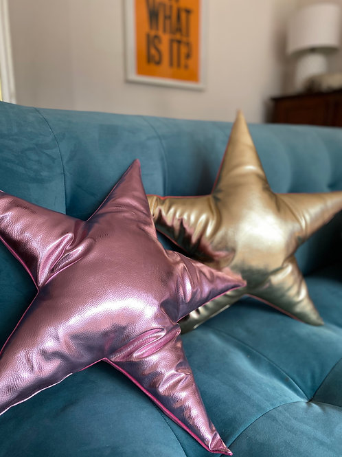 Superstar Velvet and Pink Leather Star Cushion