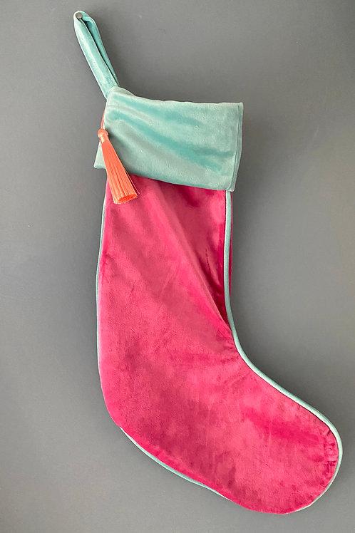 Luxe velvet stocking- hot pink