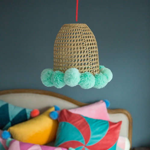 Pompom lampshade -natural
