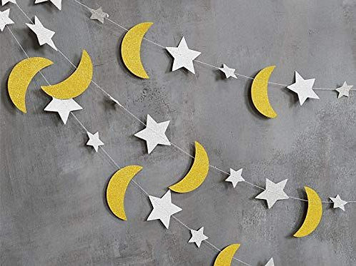 Star and moon sleepover garland