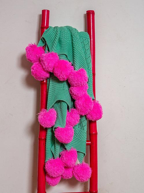 Crochet Pompom throw blanket- jade/hot pink