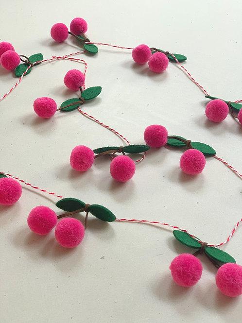 Hot pink cherry garland