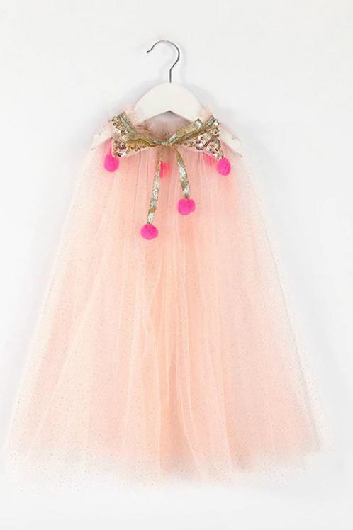 Pink glitter pompom cape
