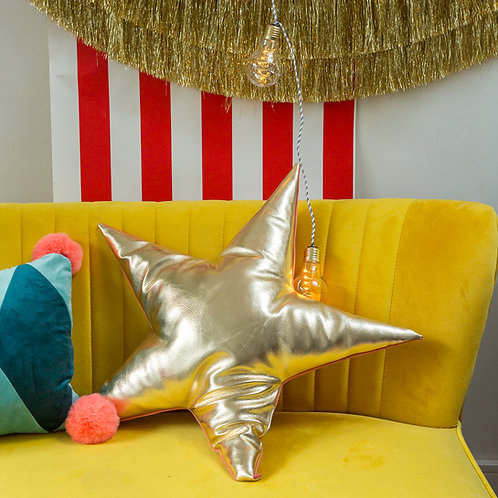 Superstar Velvet and Gold Leather Star Cushion