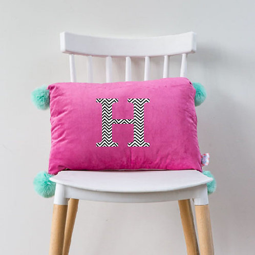 Peronalised velvet PomPom cushion