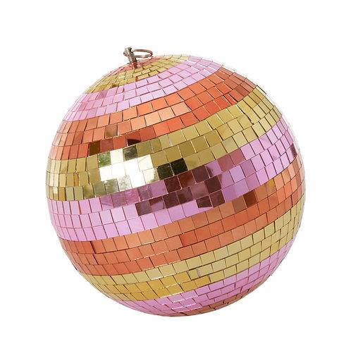 Pink stripe disco ball
