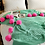 Thumbnail: Crochet Pompom throw blanket- jade/hot pink