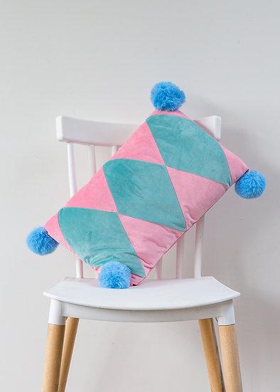 Harlequin PomPom Cushion - barbie pink