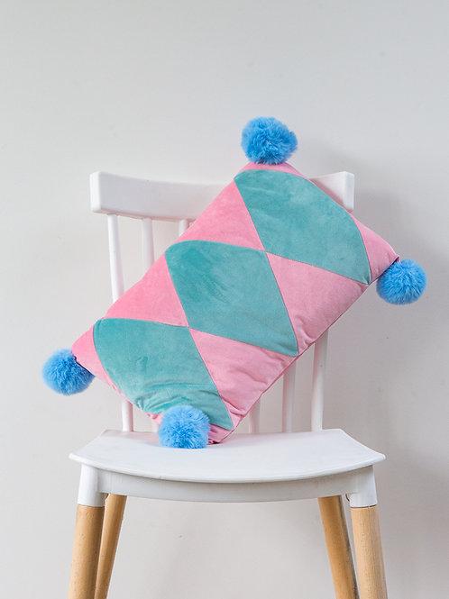 Harlequin PomPom Cushion - candyfloss pink
