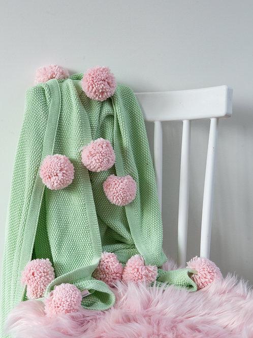 Pom tiddly Pom throw blanket- mint