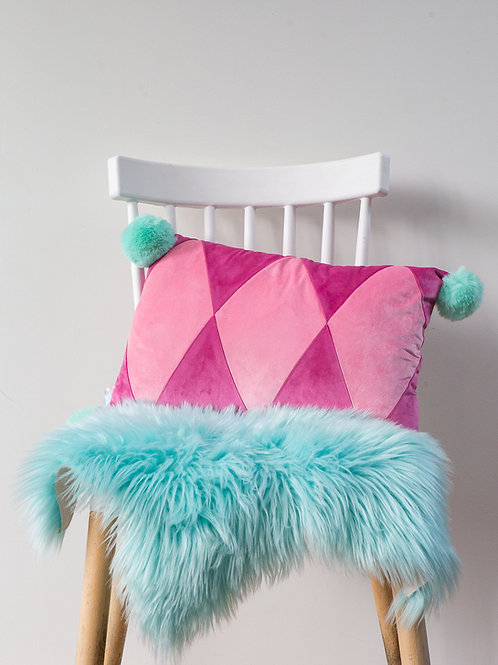 Harlequin PomPom Cushion- hot pink