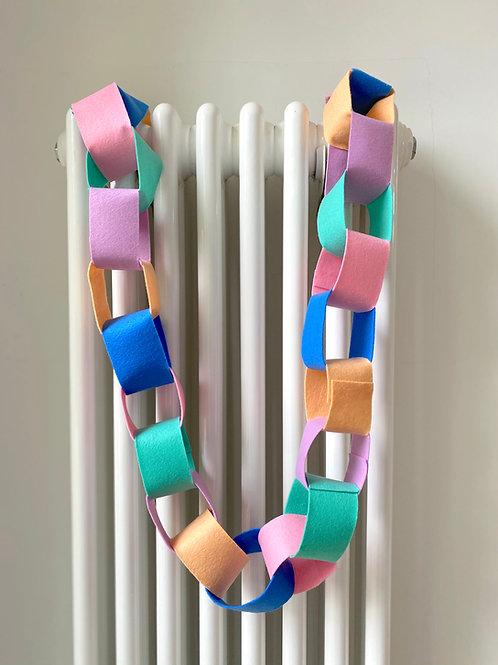Rainbow pastel felt 'paper'chain