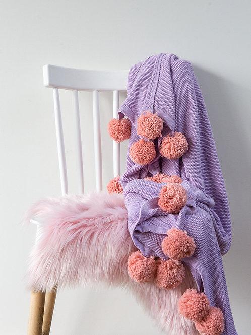Pom tiddly Pom Throw blanket - purple