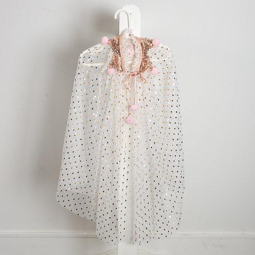Heart sparkle pompom cape