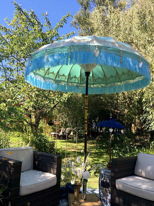 Mint green and gold fringed garden parasol
