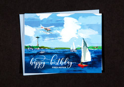 Custom photoshop painted birthday card of Lake Union