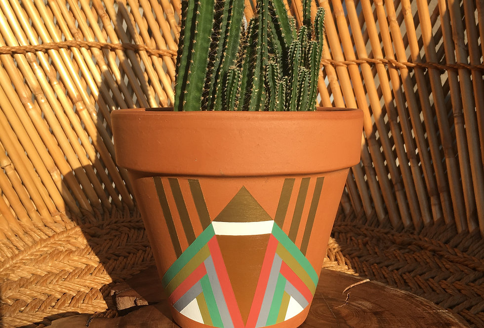 Stand Tall Painted Terracotta Pot