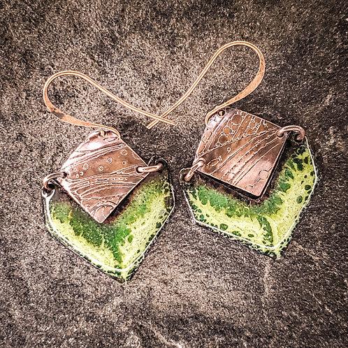 Lichen Green Enamel Earrings
