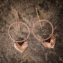 Copper Chevrons on Hammered Rings