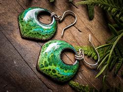 Green Enameled Earring