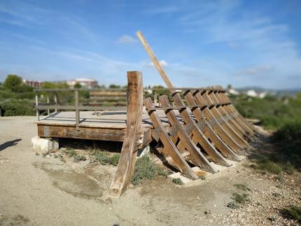 """Viewpoint simulating an abandoned ship in boatyard """"Punta Cap Roig"""" el Perelló"""