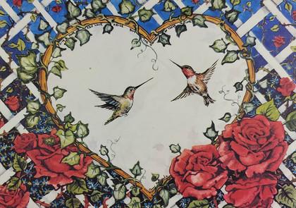 Humming Bird & Roses
