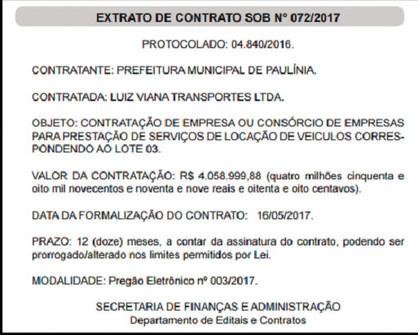 Prefeitura aluga 56 veículos por R$ 4 milhões no ano