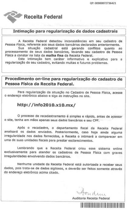 Receita Federal alerta para golpe da regularização de dados cadastrais