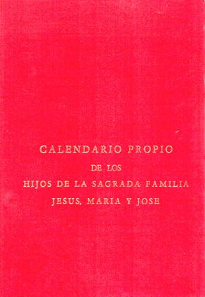 CALENDARIO PROPIO DE LOS HIJOS DE LA SAGRADA FAMILIA