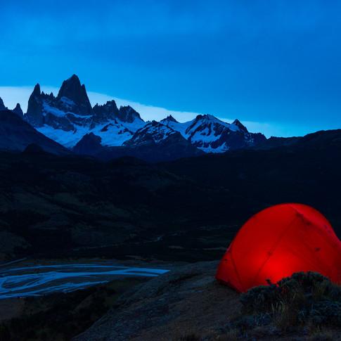 Zelten in Patagonien mit Blick auf Fitz