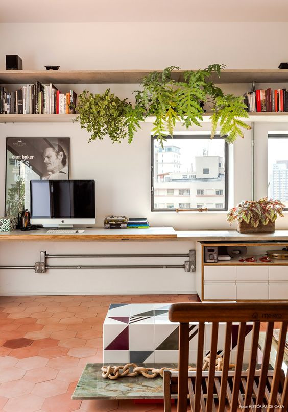 plantas no home office