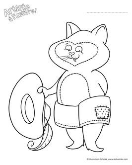 Chat botté à colorier