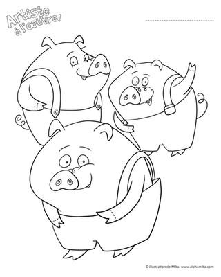 3 petits cochons à colorier