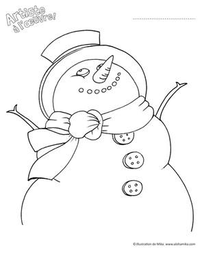 Bonhomme de neige à colorier