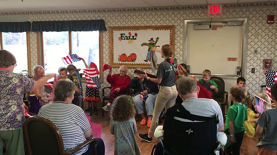 Cortland residents and pre-school children from the Mountain Laurel Learning Cooperative participate in multi-generational music class at Cortland Acres.