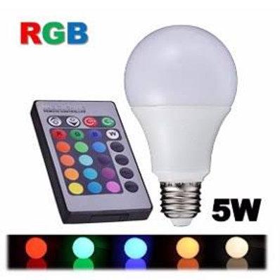 Lampada LED RGB Colorida 16 Cores Com Controle Remoto 5W
