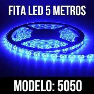 Fita Led 5050 Cor Azu Com 5 Metros Prova Da Água Com fonte 3A