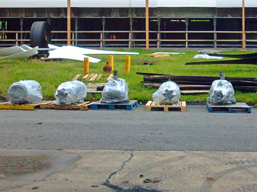 Cooling Tower Motors & Gear Reducers awaiting installation.