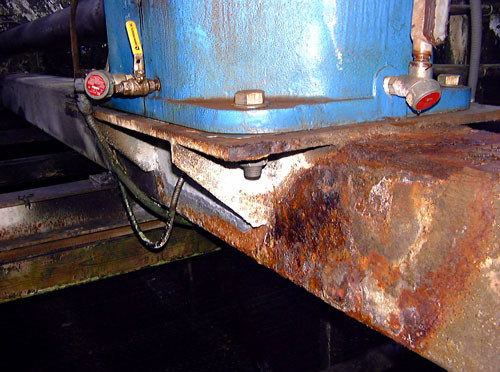BEFORE - Old Corroded Mechanical Equipment Support (Square Tube)