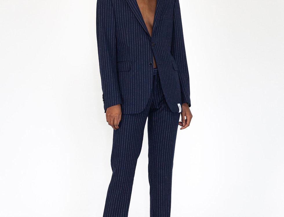 Dark blue pinstripe suit