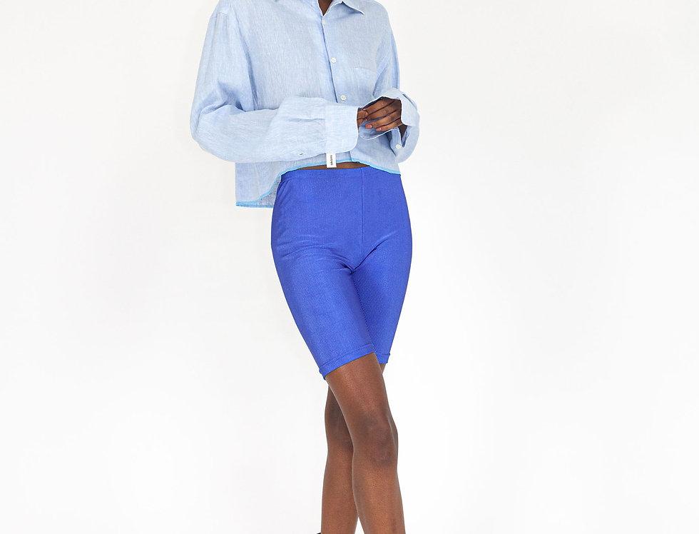 Light blue linen cropped blouse