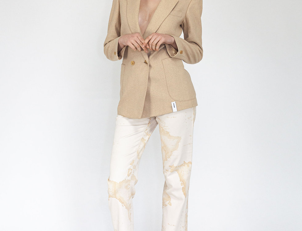 Beige double breasted jacket