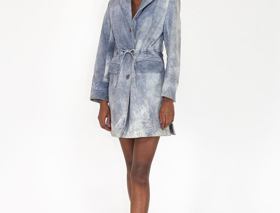 Suede coat blue