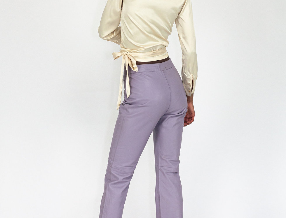 Lilac leather trousers