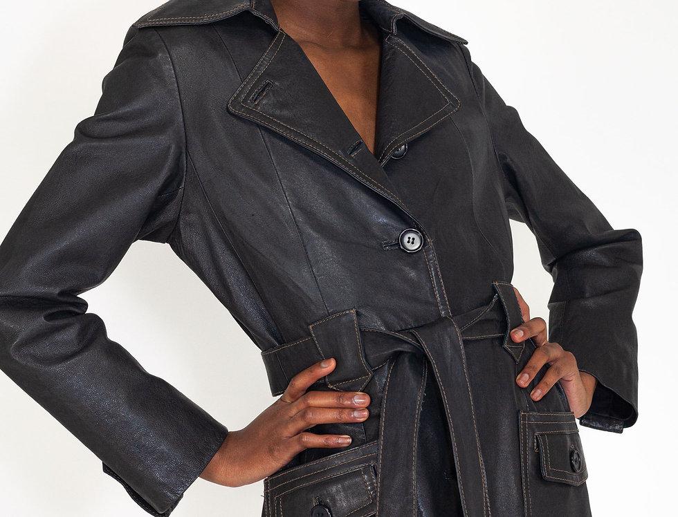 Leather coat waistband
