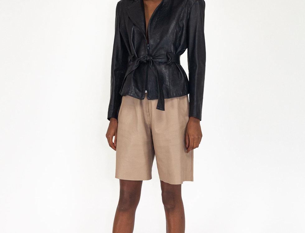 Leather coat short