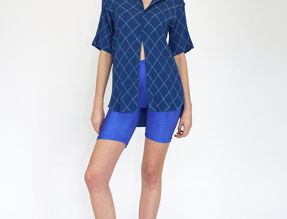 Jacquard blue blouse