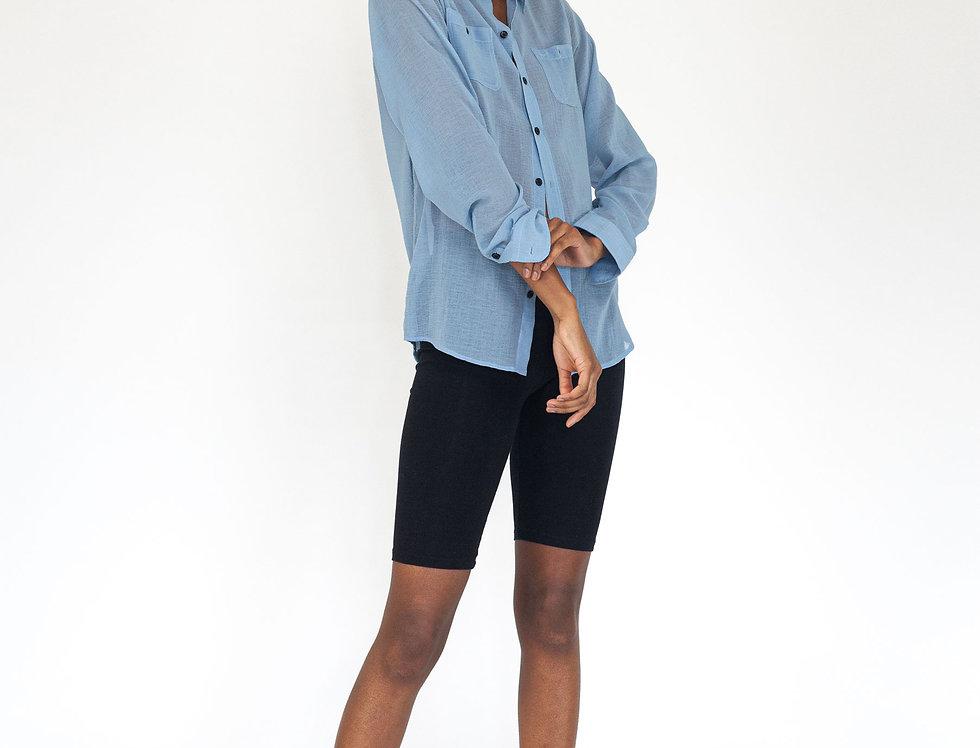 Light blue top stitch blouse