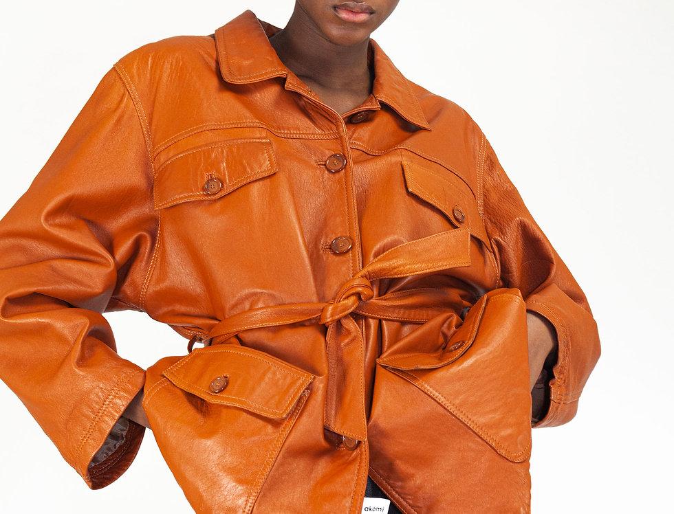 Leather jacket cognac